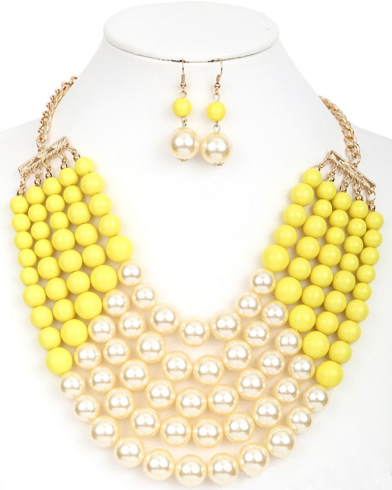 Pearl statement necklace with dress