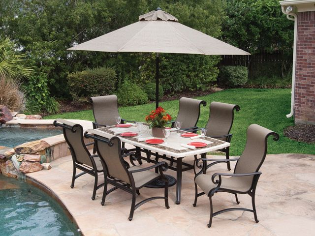 more carlsbad sling gorgeous table too decor pinterest rh pinterest com Home Depot Patio Furniture Home Depot Patio Furniture