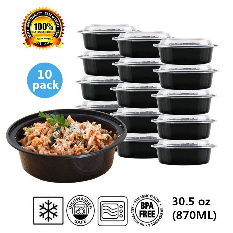 Set of 10Round Plastic Food Storage Container With Lid