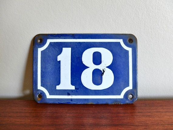 Antique French Blue Enamel House Number 18 Door By Lestrictmaximum 20 00 Casas