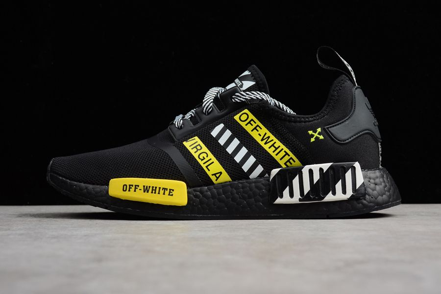 a37988d5a3872 OFF-White adidas NMD R1 Black White Yellow Shoes For Sale