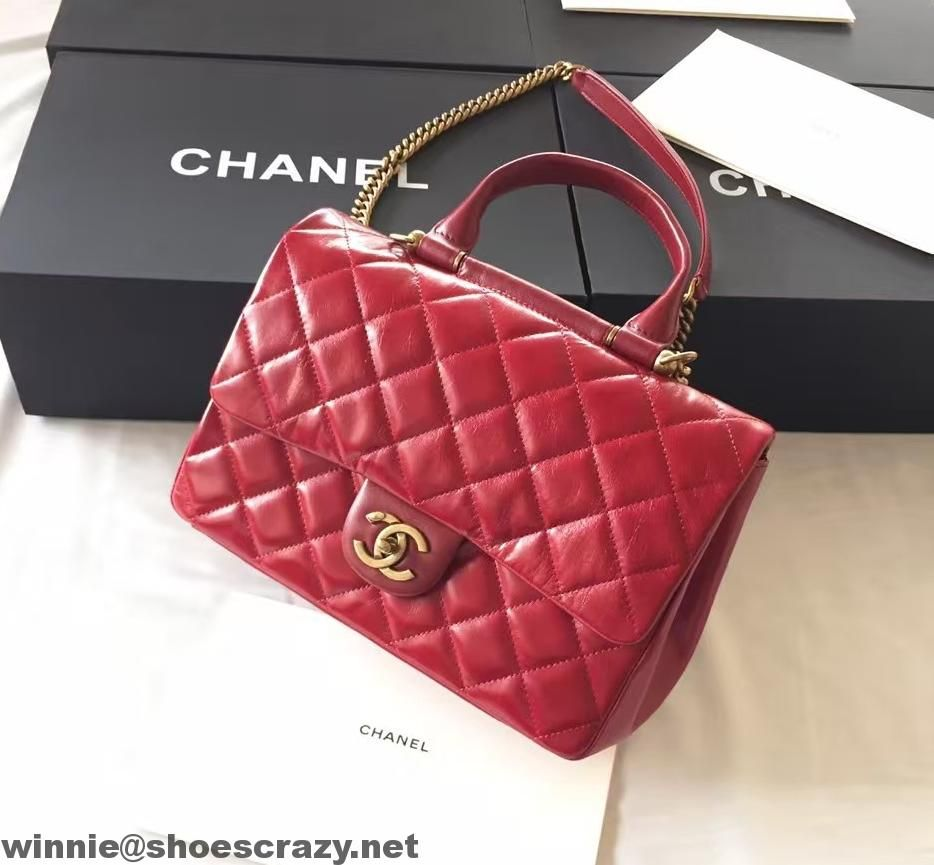0319e73ddca7 Chanel Wax Calfskin Flap Bag With Handle A93424 Rome 2016 | Chanel ...
