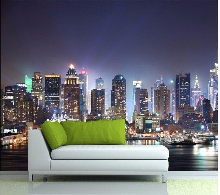 3d Mural Wallpaper New York City Large Mural Wallpaper Night