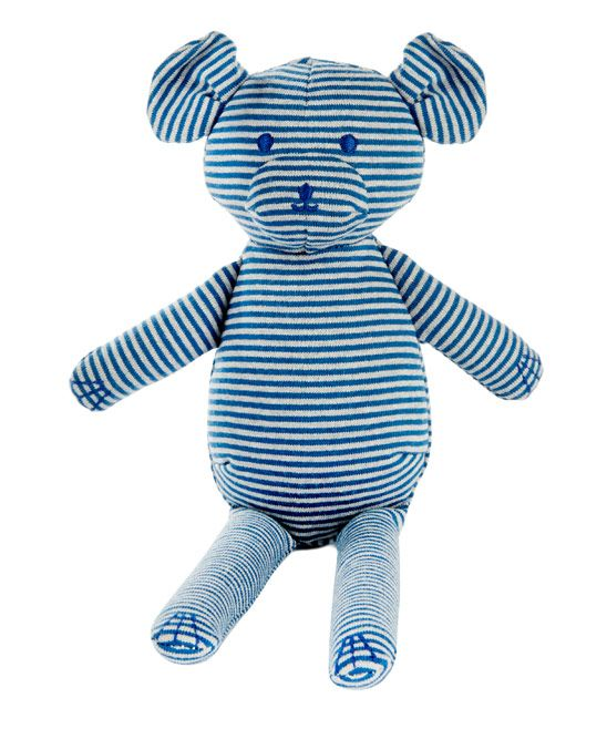 Petit Bateau Blue Milleraies Striped Teddy Bear