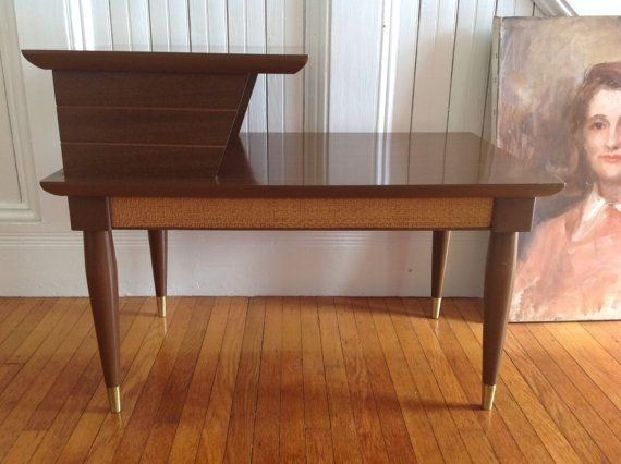 MID CENTURY Danish Modern End Table 1960s Vintage Wood Formica Bi Level  Wooden Peg Legs Retro Cool