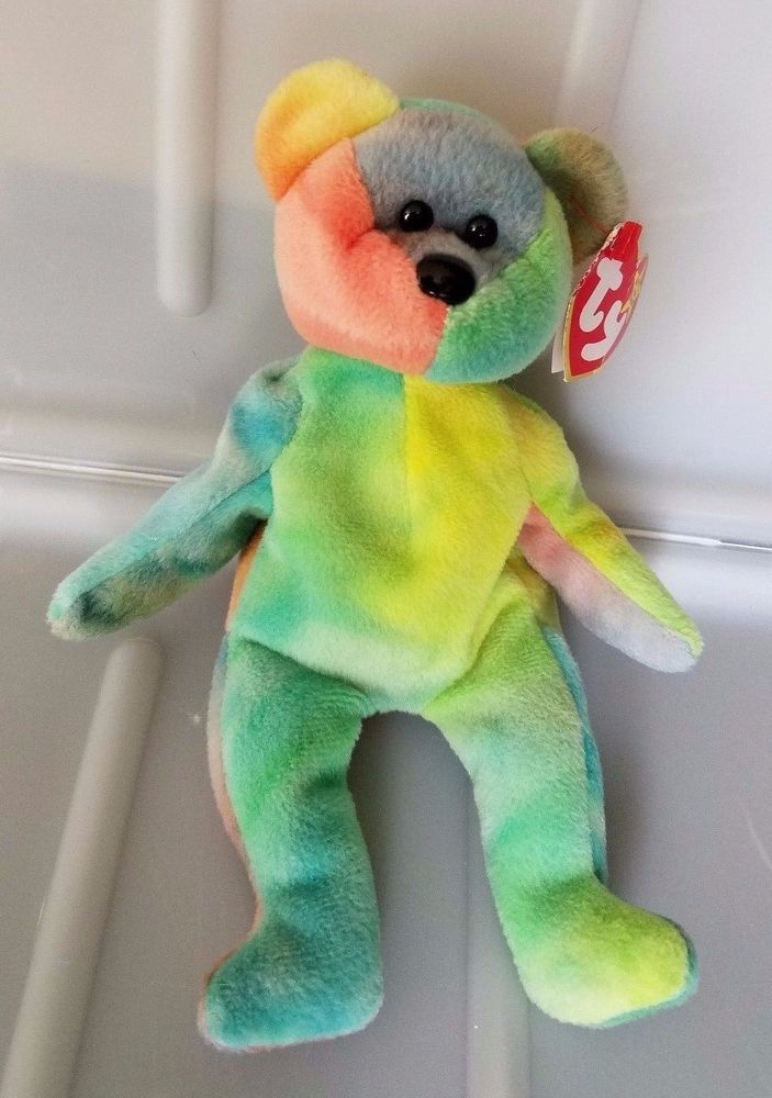 TY GARCIA the TY-Dyed BEAR Beanie Baby creased tag 4051  Ty  a68bfde8947