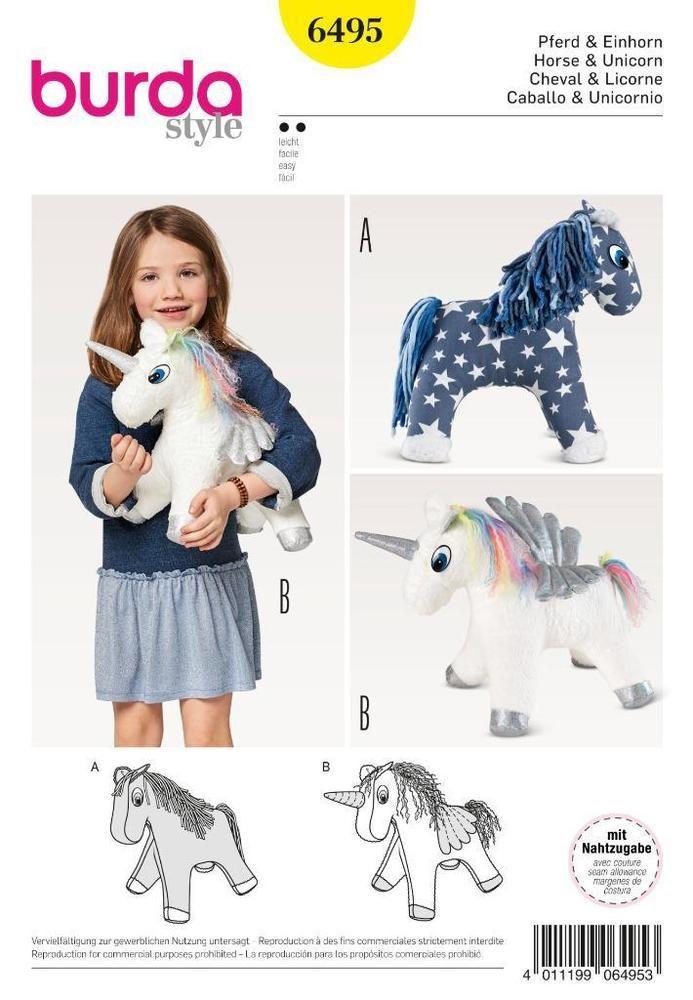 BURDA SEWING PATTERN Stuffed Animal Horse HORSE & UNICORN 6495 ...