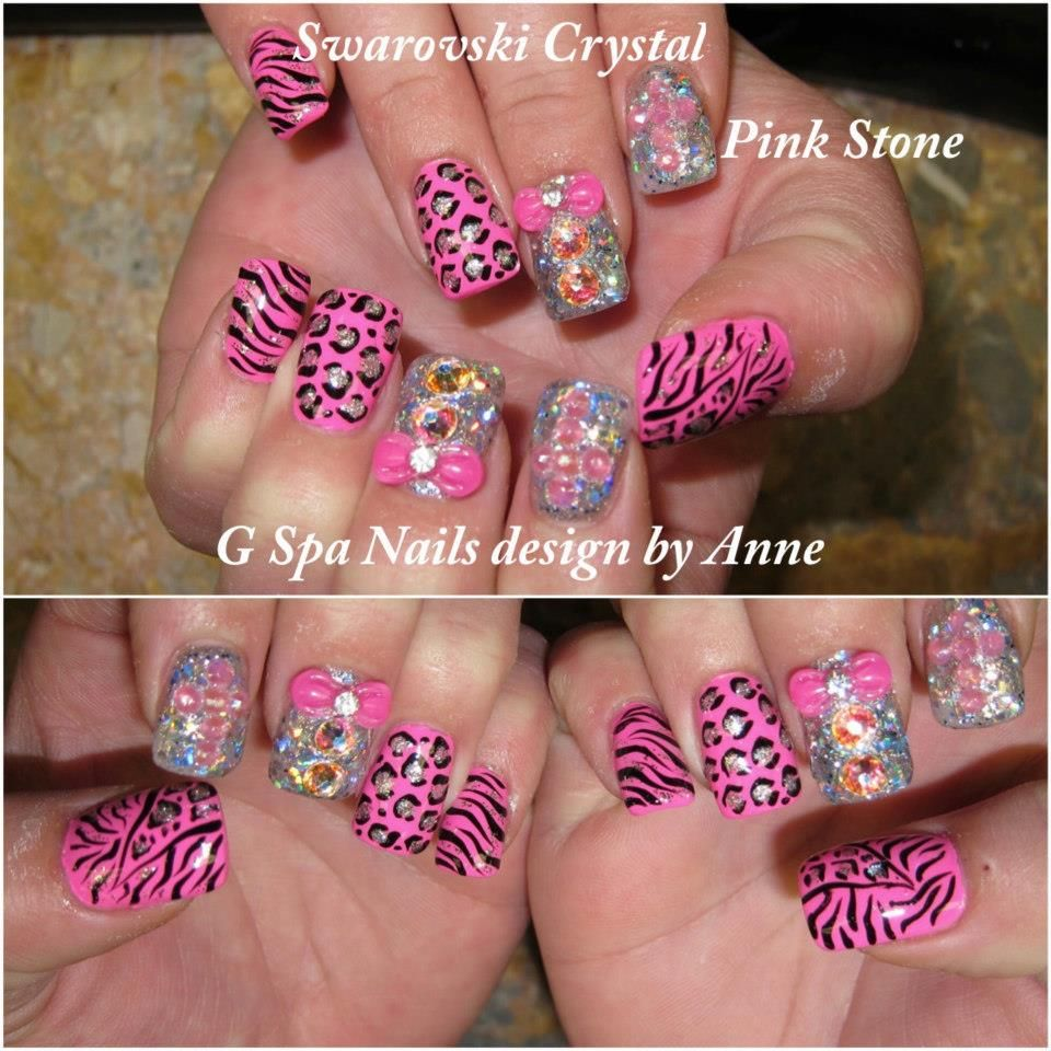 cross cheetah diamonds nails nails designs pinterest