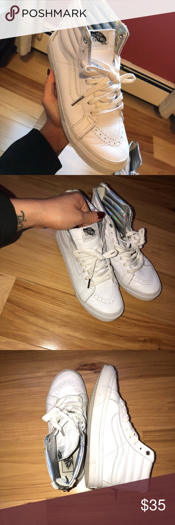 73ee1125b4 Vans sk8- Hi Slim zip true white sneakers Vans sk8- Hi Slim zip true white  sneakers. These shoes have been worn a few times . Still true white color.