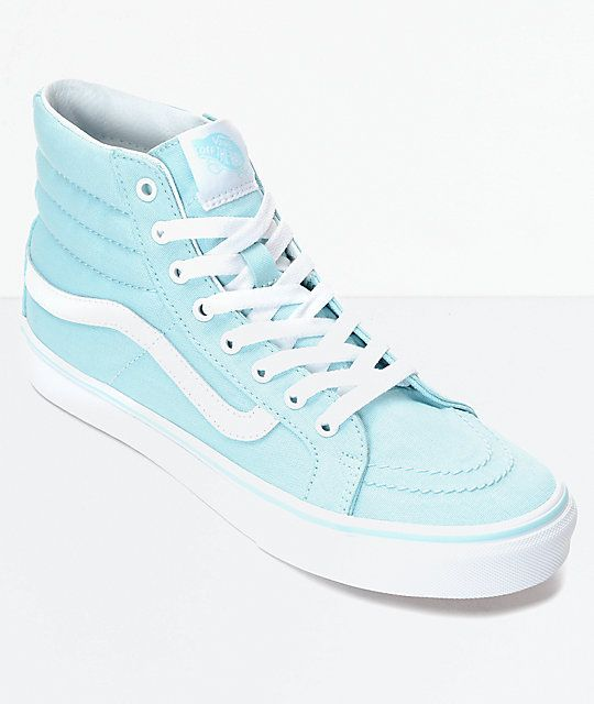 ed7e66047d Vans Sk8-Hi Slim Crystal Blue   White Canvas Shoes in 2018