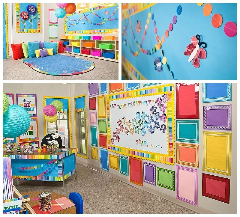 Classroom Mural Ideas ~ Paint chip classroom decor decorate