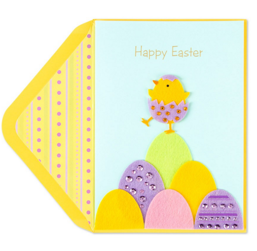 CUTE Papyrus Easter Card with Felt /& Sequin Bunny Hiding in the Bushes