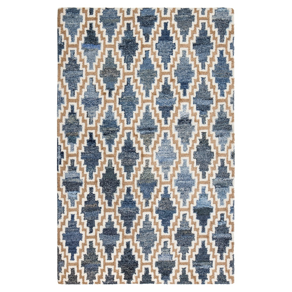Blue geometric woven area rug u x u anji mountain products