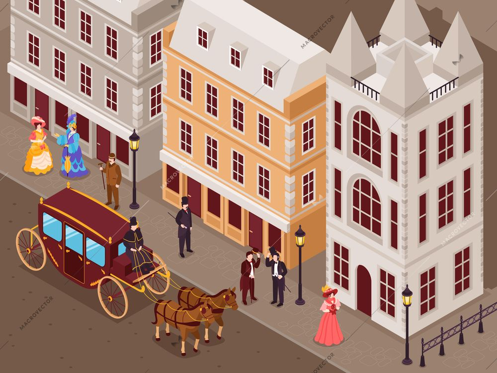 Victorian era street with city houses gentlemen la s in fashionable crinoline skirts carriage isometric view vector illustration