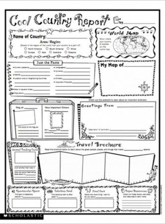 Cool Country Report: Fill-in Poster FREE from Scholastic