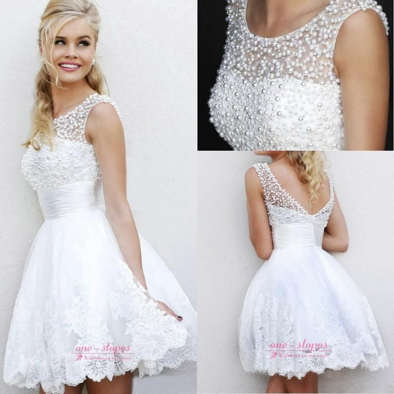 Wholesale 2014 Wedding Dress - Buy 2014 Cheap Lace A Line Wedding Dresses Jewel Neck Sleeveless Pearl Beaded Lace Appliques Sheer Short Hollow Back Empire Bridal Gowns CPS068, $48.65   DHgate