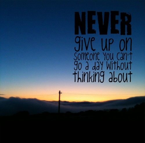 Giving Love Quotes: Never Give Up On Someone You Can't Go A Day Without