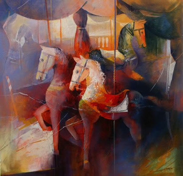 """Cavalli a dondolo"", painting by Claudio Perina"