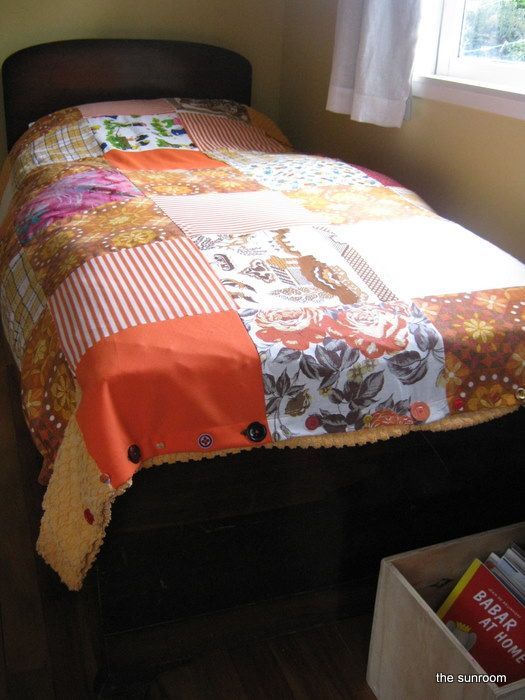 Vintage fabric and candlewick bedspread to make a duvet cover