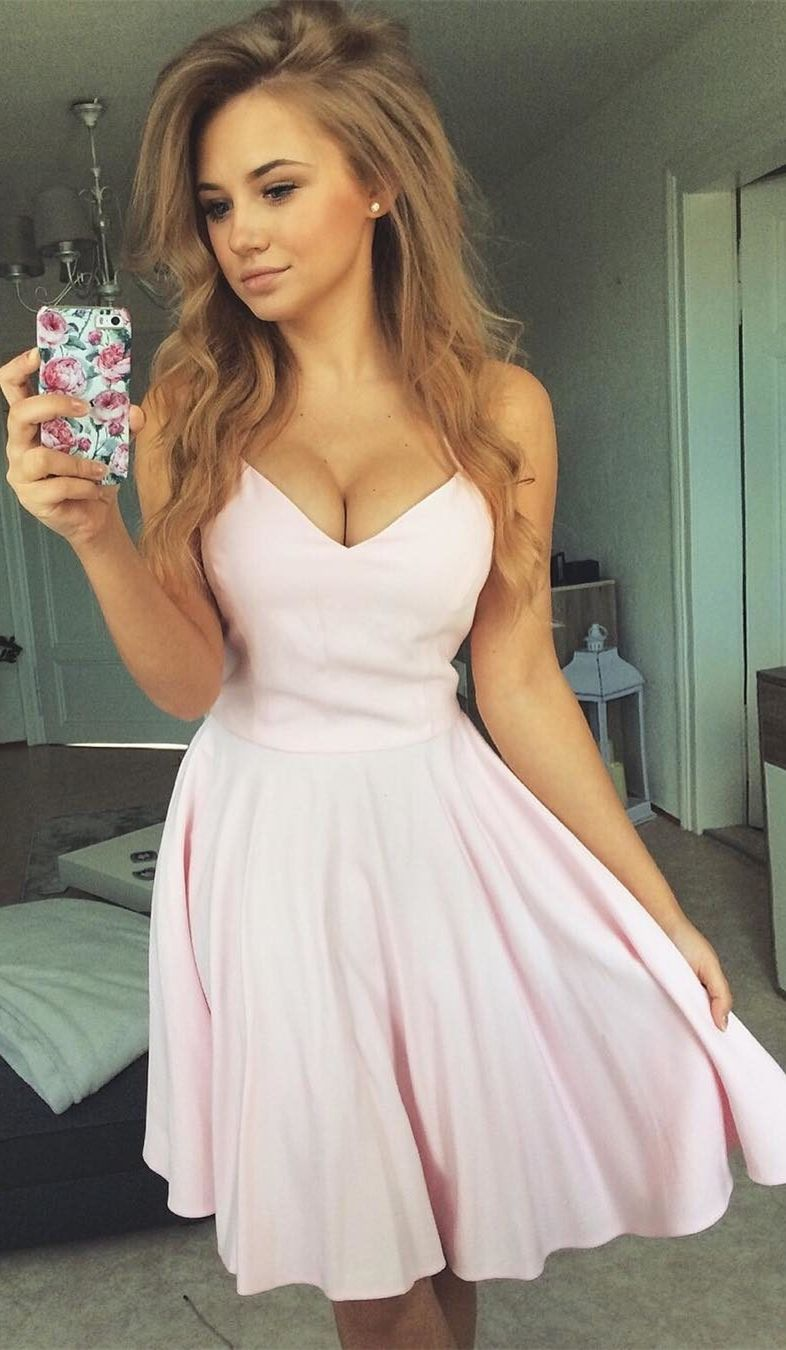 Simple pink stain short homecoming dresses modest a line spaghetti