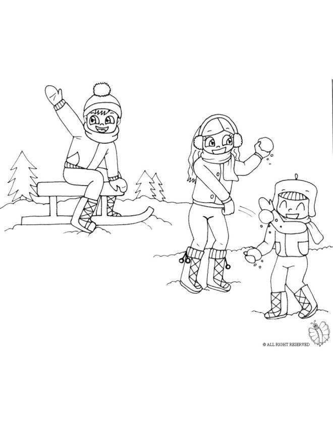 Disegno Giocare Con La Neve Disegni Da Colorare E Stampare Gratis