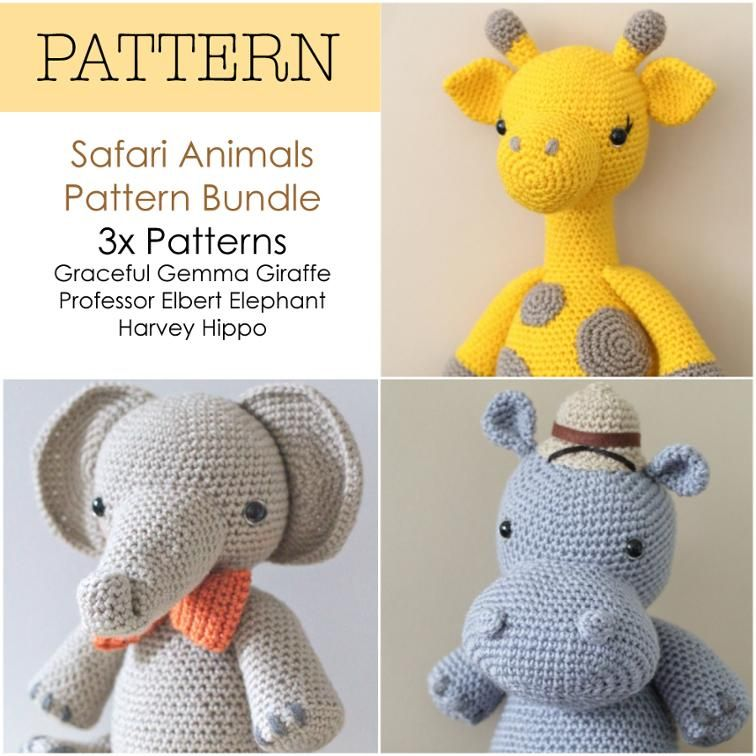 Crochet Amigurumi Safari Animals Bundle