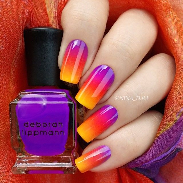 Sunset nails by using Deborah Lippmann 'Run the World (Girls)' neon nail  polish set for this tropical gradient. - Honestly I Love How These Nails Are Done. But Oh My Gosh I Doubt I