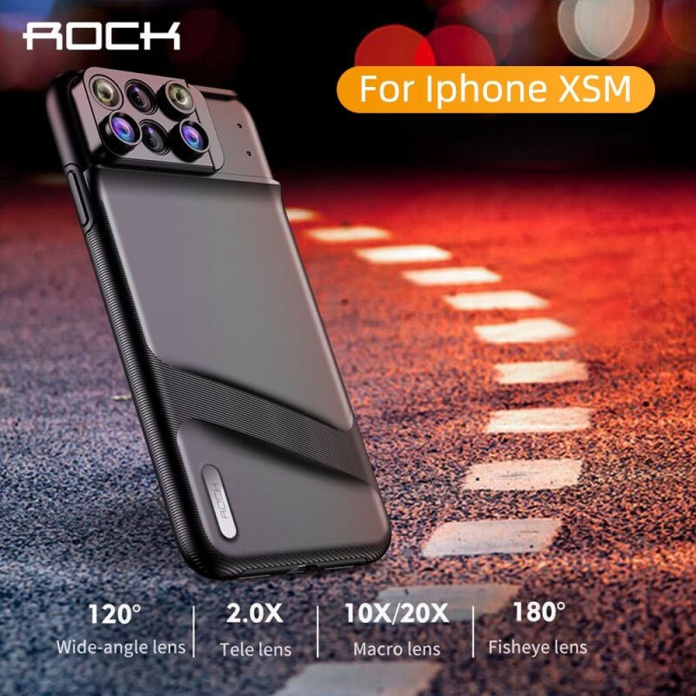 ROCK Lens Phone Case for iPhone XS Max Fisheye Wide Angle Macro Lens Telephoto Macro Lens 6 in 1 Lenses TPU Cover Full Coverage #wideangle