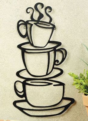 Kitchen Coffee Decor House Cup Java Silhouette Wall Mounted Art Metal