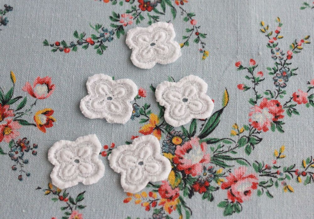 Pretty broderie white linen flowers