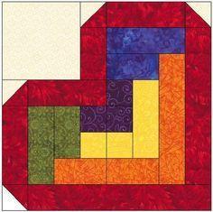Log Cabin Heart Quilt Block Pattern Download … | Pinteres… : heart quilt block patterns - Adamdwight.com