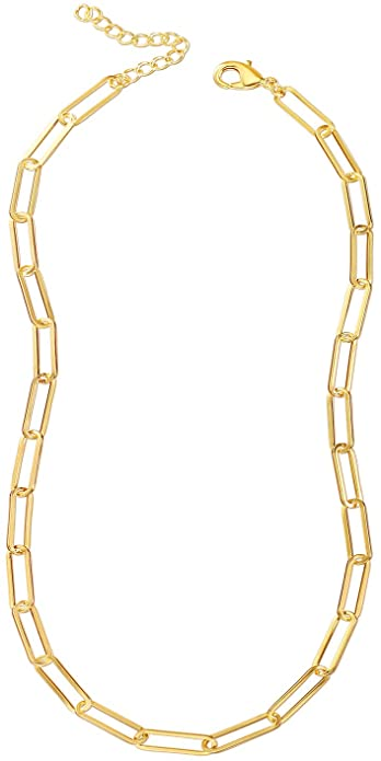 Amazon Com Reoxvo Paperclip Gold Link Chain Necklace Gold Chain Necklaces For Women Jewelry Gold Link Chain Chain Link Necklace Gold Chain Necklace