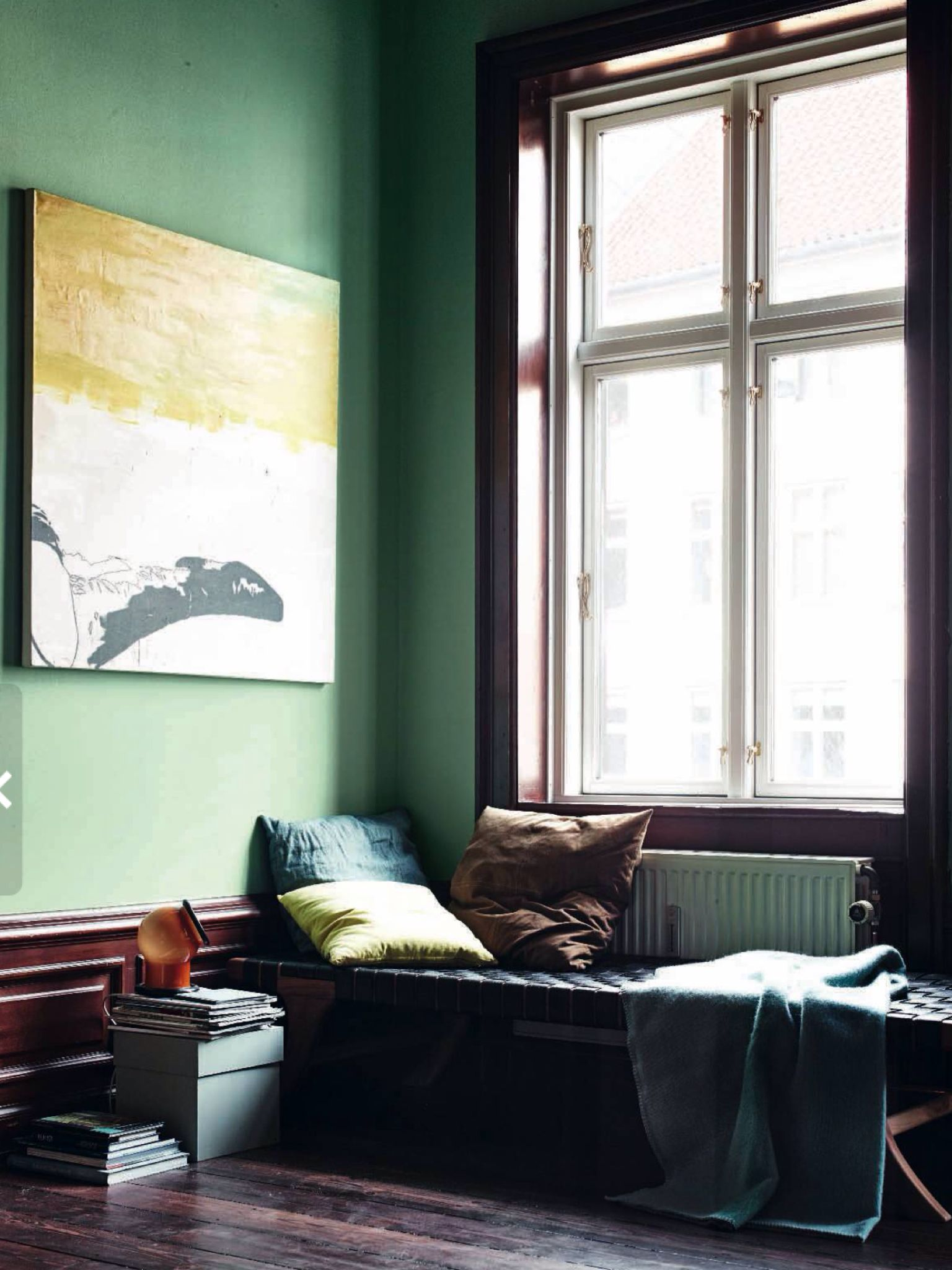 green walls, danish apartment