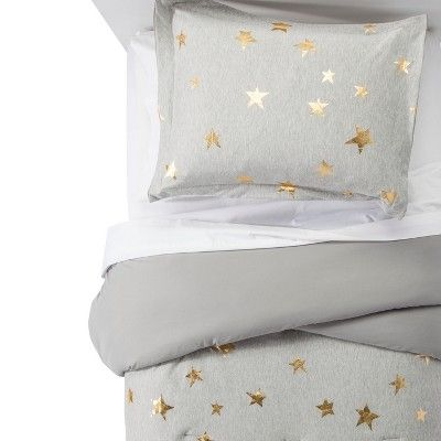 2pc Twin Jersey Stars Comforter Set Gray & Gold - Pillowfort™