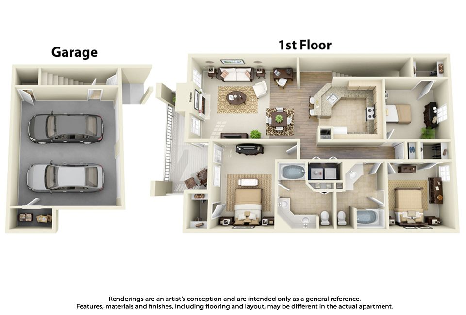 Heres A Really Different Looking 3D Floor Plan For 3 Bedroom 2 Bathroom With PlansApartment