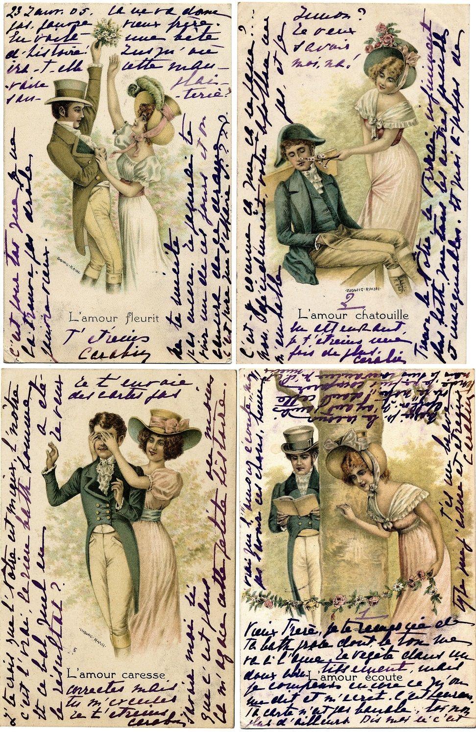 4 Matching Victorian Postcards