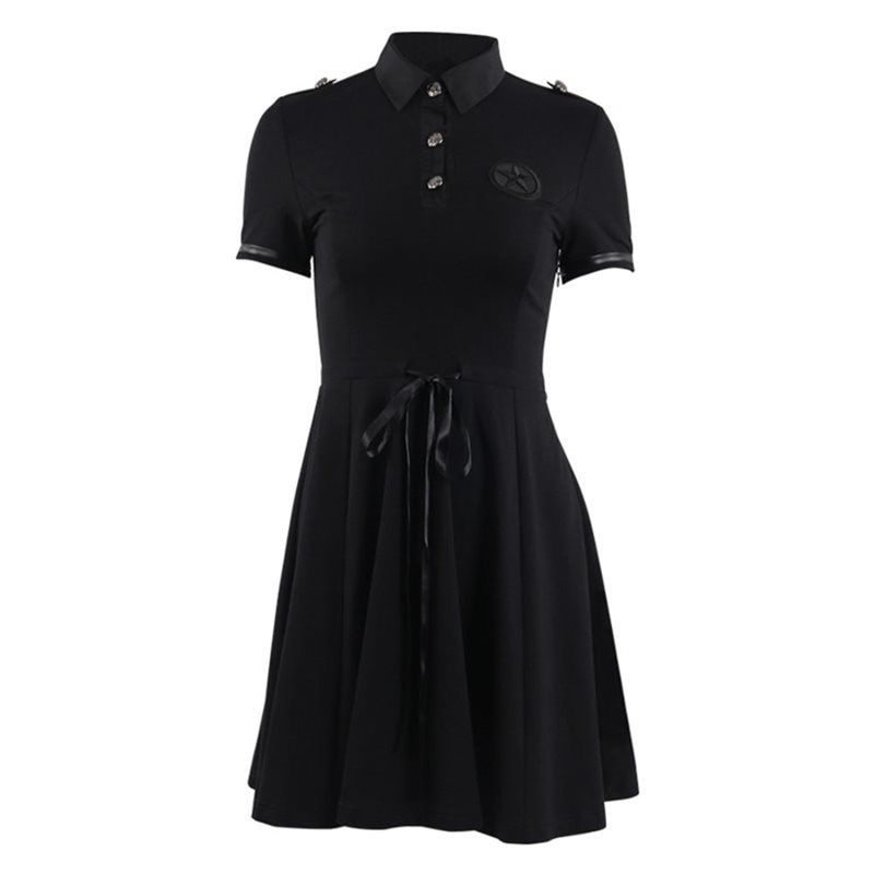 Rosetic Women Gothic Mini Dress Summer Black A Line Lace Up Elegant Pleated School Casual Goth Streetwear Sexy Short Dresses #casualgoth