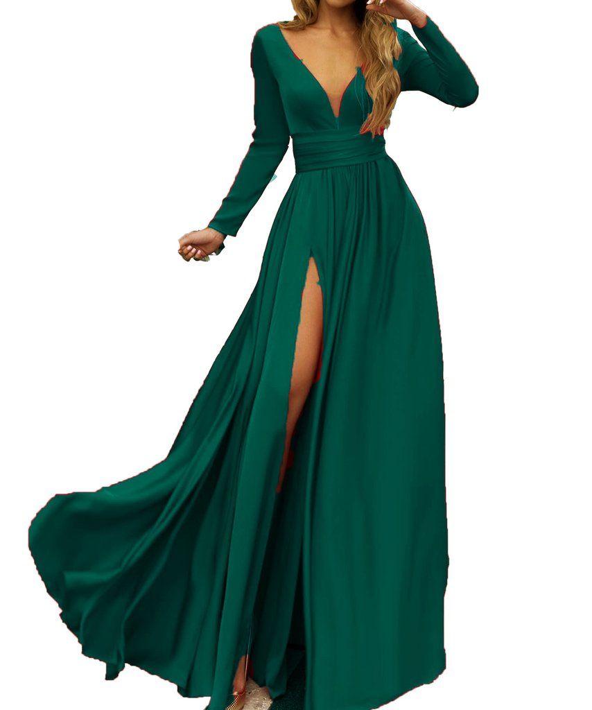 LP Emerald Sexy Deep V Neck Long Sleeves Evening Dresses Long