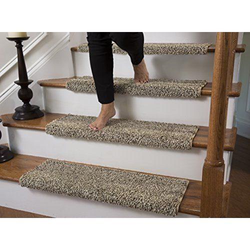 13 Stair Treads Non Slip Carpet Pads Easy Tape Installation | Safety Treads For Wooden Stairs | Anti Slip Stair Nosing | Rubber | Pet Friendly | Slip Resistant | Floating Staircase