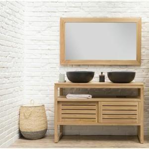 OAHU Ensemble salle de bain en bois teck massif double vasque L