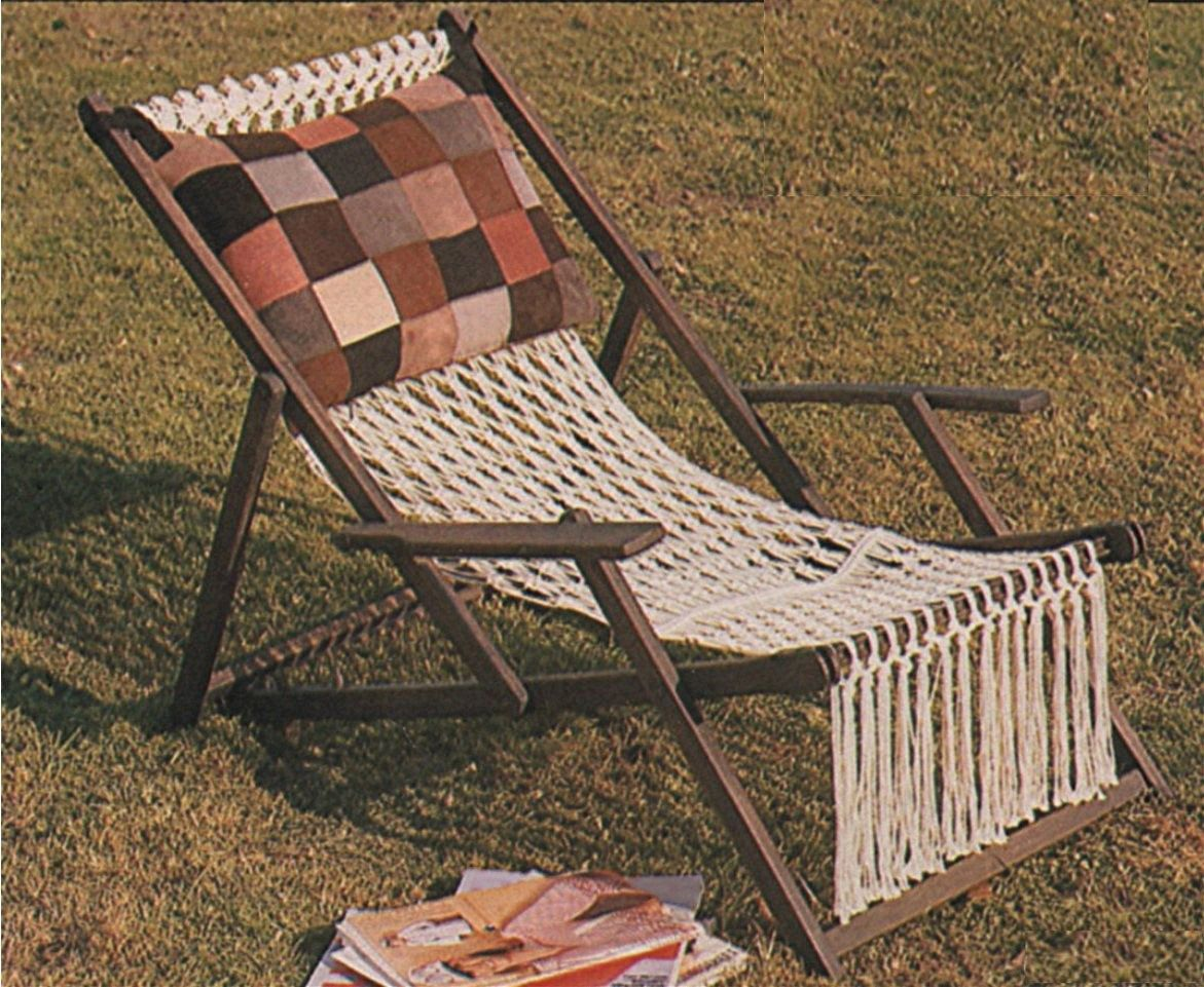 Deckchair Cover Macrame Pattern Pdf Deck Chair Garden Lawn Chair Recycle And Refurbishment Of Patio Furniture Vintage Macrame Patterns Vintage Macrame Patterns Macrame Chairs Lawn Chairs