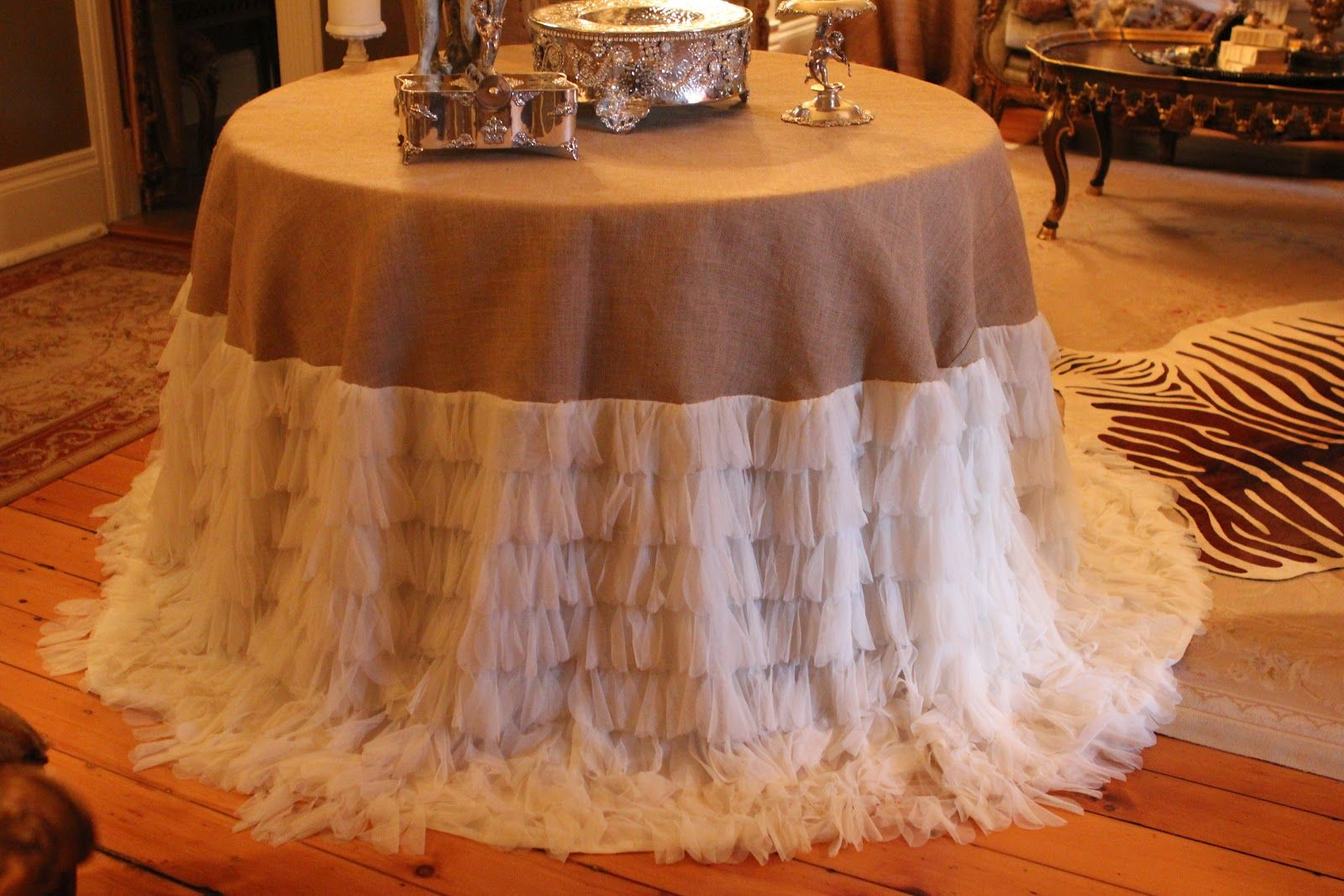 burlap and lace round table covers to die for tablecloth puddled on the floor burlap and. Black Bedroom Furniture Sets. Home Design Ideas