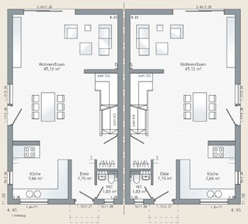 grundrisse schw rer haus doppelhaus plan 1126 4 house plan pinterest haus. Black Bedroom Furniture Sets. Home Design Ideas