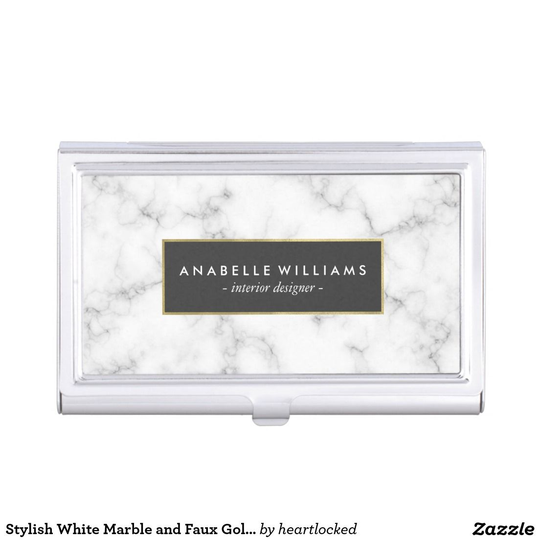 Stylish White Marble And Faux Gold Foil Business Card Holder