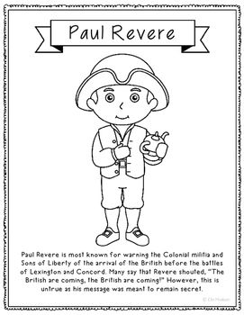 Paul Revere Coloring Page Craft Or Poster With Mini Biography