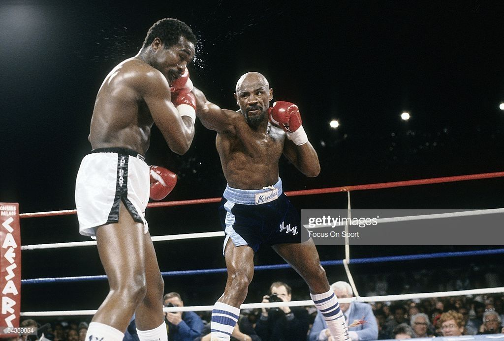 Marvin Hagler Lands A Blow To The Head Of John Mugabi During The Boxing Images Marvelous Marvin Hagler Boxing Champions