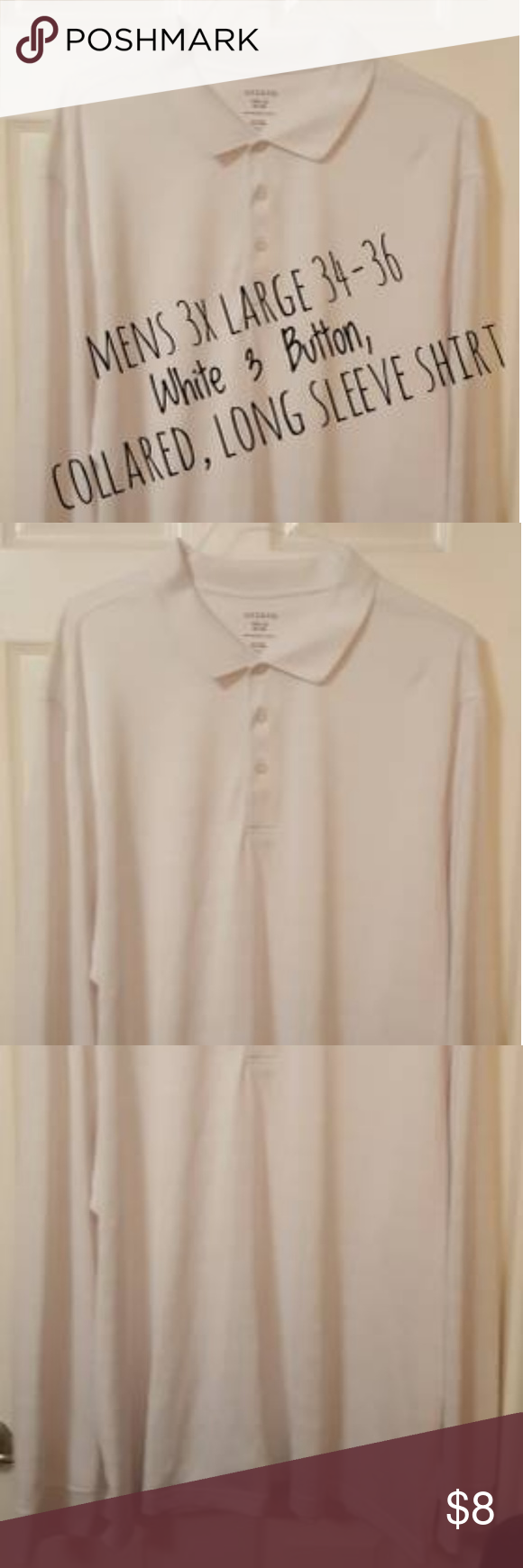 George Mens 3 Button Collared White Texture Shirt My Posh Closet