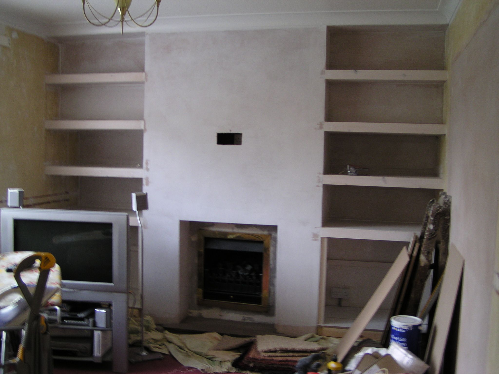 Built in shelves around fireplace builtintvshelvesjpg