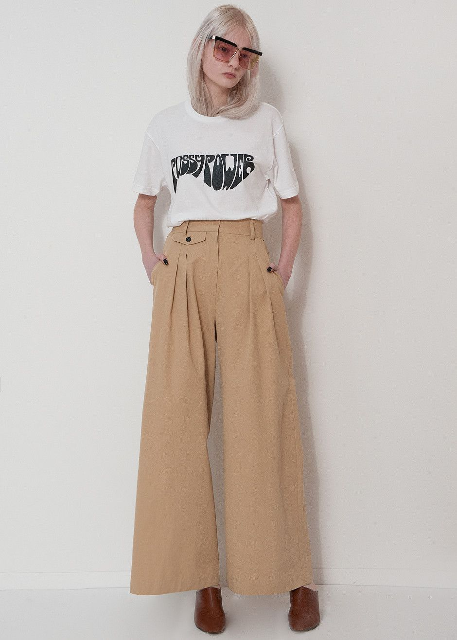 b2c2f475e3 Khaki High Waisted Wide Leg Pant – The Frankie Shop | Since nudity ...