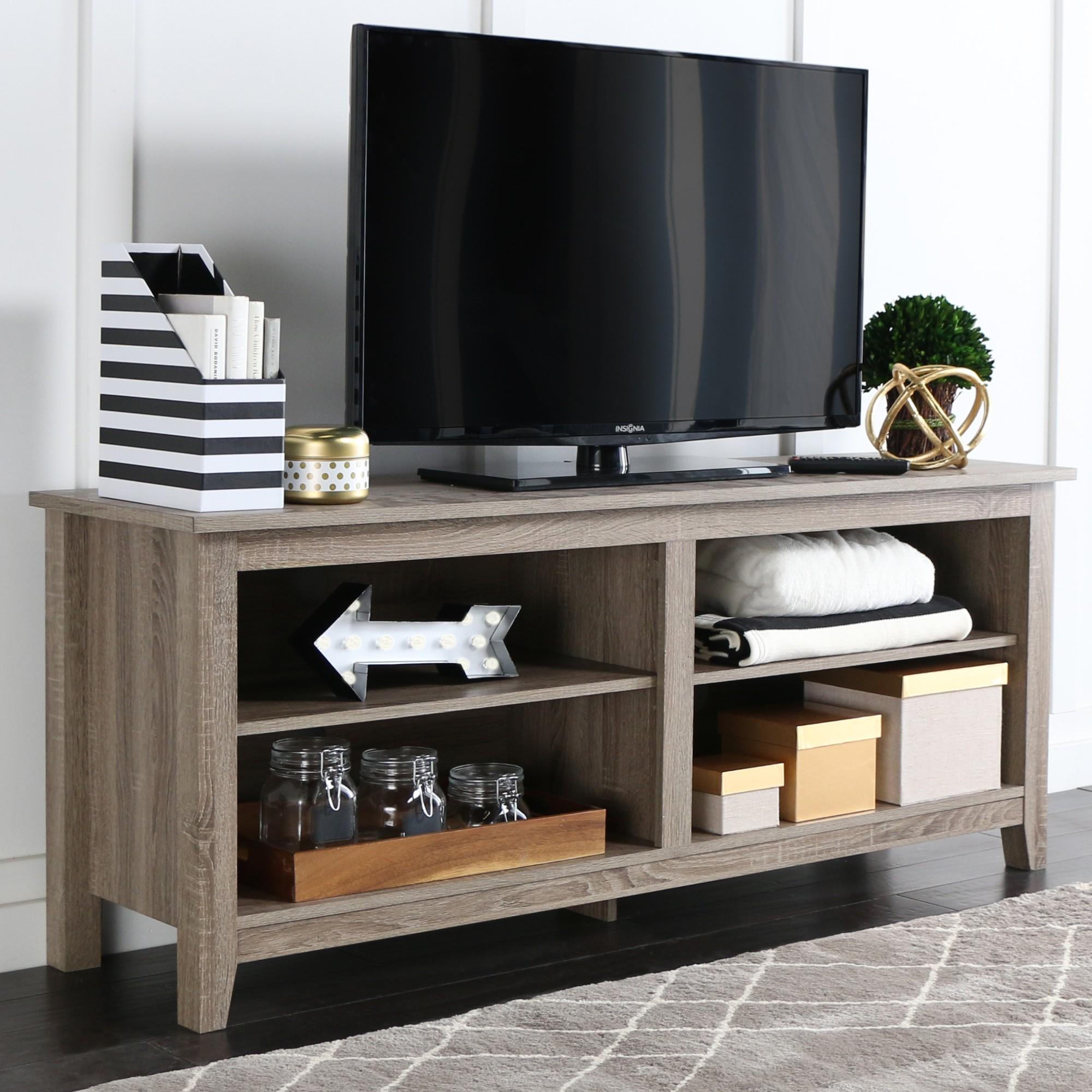 58 Wood Tv Media Stand Storage Console Driftwood Saracina Home  # Meuble Tele Angle But
